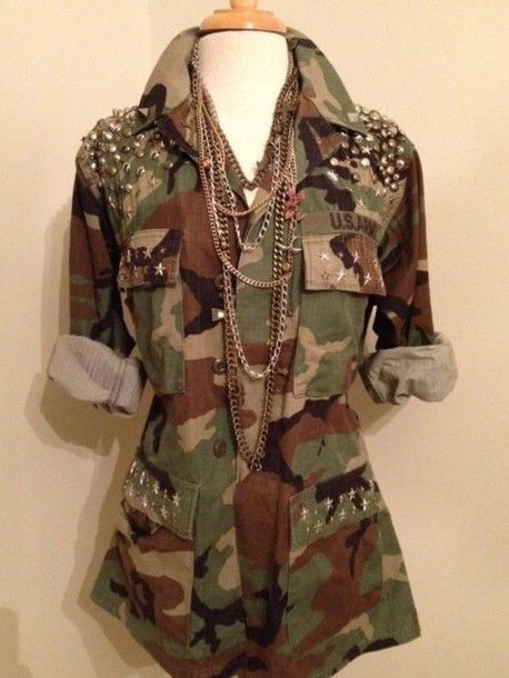 Studded Camouflage Army Jacket by PieceOfPye on Etsy