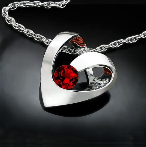 ruby necklace – heart pendant – July birthstone – Argentium silver jewelry – red – valentine gift – Mother's day – Chatham ruby – 3401