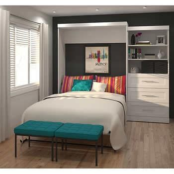 Boutique Queen Wall Bed With Two 25 Open Storage Units In White In 2020 Modern Murphy Beds Wall Bed