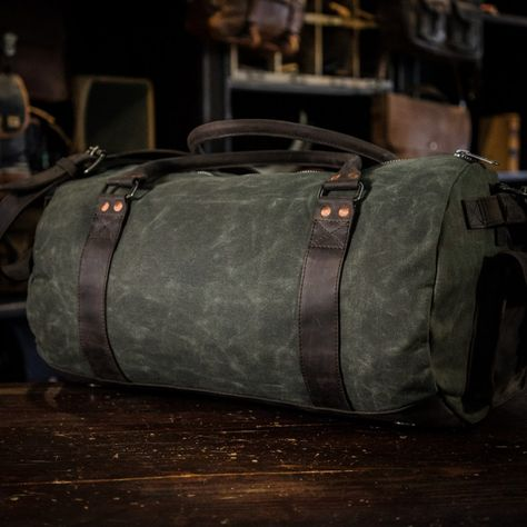 Travel Duffle Bag For Men Green Canvas Walnut Leather Buffalo Jackson Leather Duffle Bag Classic Leather Bag Leather