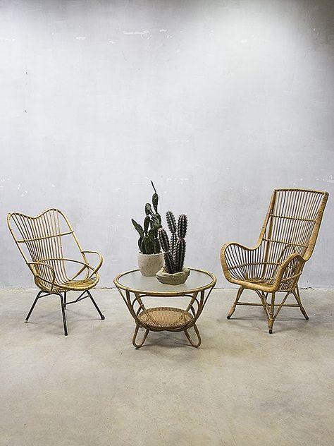 Vintage Rohe Stoel.Vintage Design Rotan Lounge Stoel Rohe Vintage Rattan Armchair Rohe