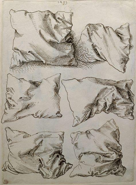 Albrecht Dürer   Self-portrait, Study of a Hand and a Pillow (recto); Six Studies of Pillows (verso)   The Metropolitan Museum of Art