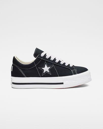 Conmoción Huracán accidente  One Star Platform Canvas Star Dark Obsidian/White/Gym Red | Converse one  star, Converse, Shoes