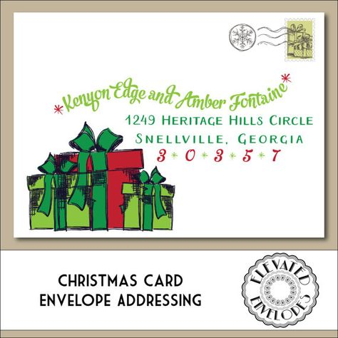 CHRISTMAS ENVELOPE ADDRESSING Printable by ElevatedEnvelopes - christmas card letter templates