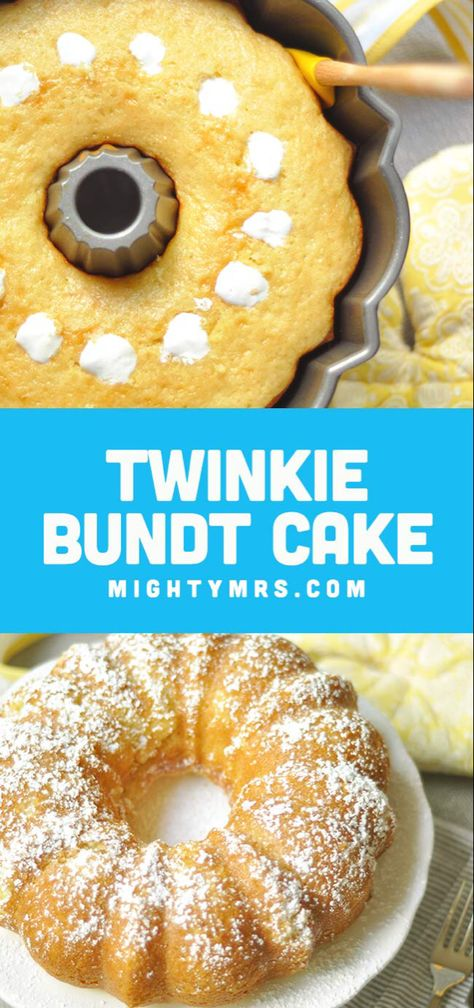Twinkie Bundt Cake - This giant homemade Twinkie cake is so moist and delicious it will satisfy your craving in a BIG way! This easy recipe is fun to make and is great for celebrating special occasions or milestones. Would also be a cute dessert for a Min Dessert Simple, Minion Party, Candy Melts, Food Cakes, Cupcake Cakes, Bundt Cakes, Bundt Cake Pan, Layer Cakes, Easy Desserts