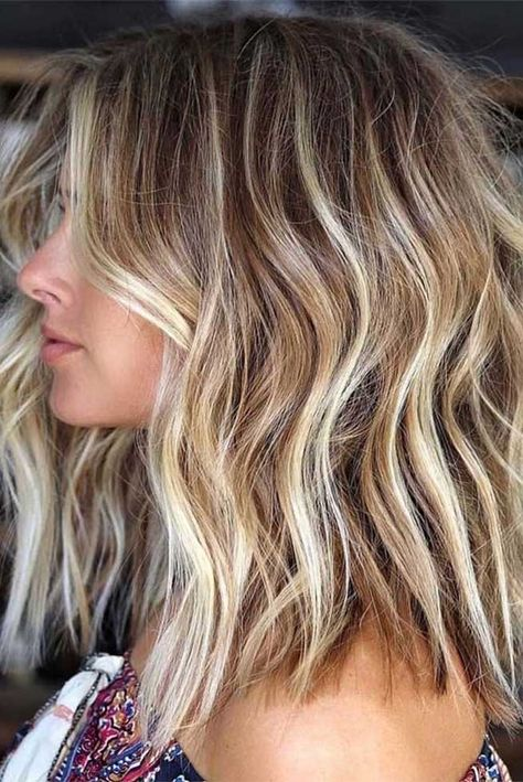 Amazing Balayage with Blonde Highlights to Wear in 2019 - Cabello Rubio Hair Color Shades, Ombre Hair Color, Hair Color Balayage, Cool Hair Color, Blonde Ombre Hair Medium, Balayage Bob Blonde, Curly Hair Colours, Blond Curly Hair, Medium Length Hair Blonde