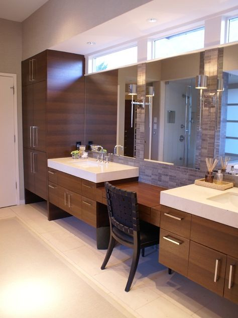 Bathroom Vanity With Sit Down Makeup Area Filling The