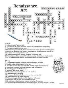 Renaissance Art History Crossword Puzzle By Artsycat Teachers Pay Teachers Renaissance Art Art History Renaissance