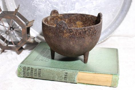 Antique Rusted Iron Pot, Repurpose Garden Planter#antique #garden #iron #planter #pot #repurpose #rusted