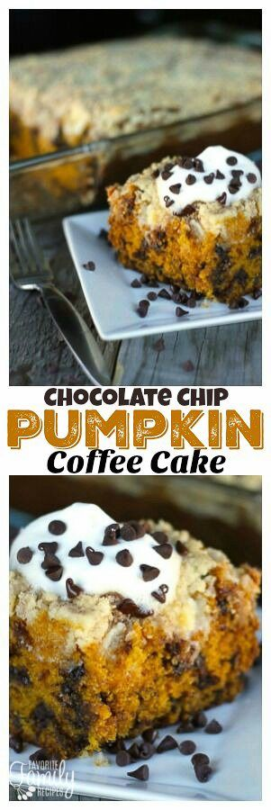 This Chocolate Chip Pumpkin Coffee Cake has a cream cheese layer and crumb topping that is out of this world! Perfect for breakfast, snack, or even dessert! #pumpkincoffeecake #pumpkin