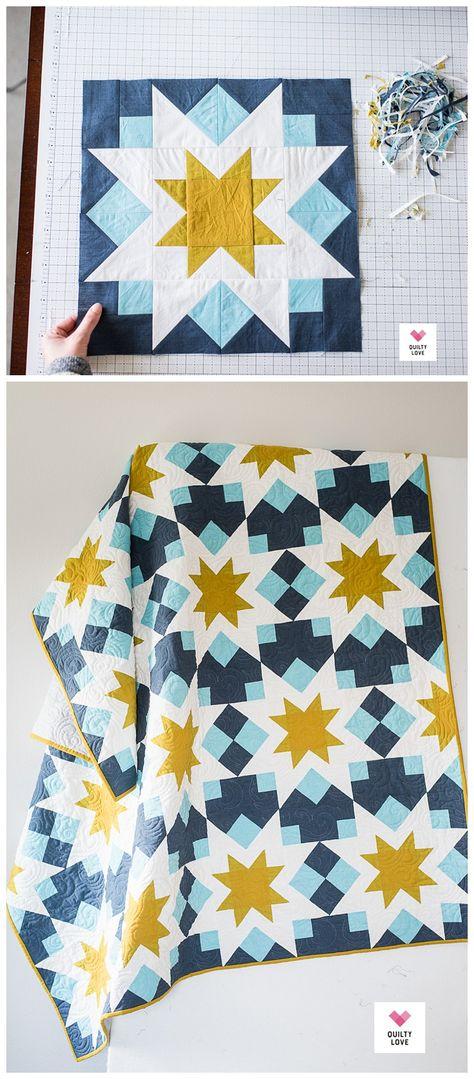 Star Quilt Blocks, Star Quilt Patterns, Star Quilts, Pattern Blocks, Quilting Stitch Patterns, Modern Quilt Blocks, Owl Quilts, Block Quilt, Modern Quilt Patterns