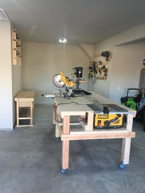 I built this convertible saw station/modular workbench. The miter saw rotates beneath the top surface to make room for the table saw out-feed and/or additional work space. Workbench Plans Diy, Table Saw Workbench, Woodworking Bench Plans, Woodworking Shop Layout, Garage Workbench, Woodworking Tools, Garage Workshop Organization, Diy Garage Storage, Lumber Storage