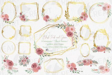 Watercolour blush flowers & green leaves bridal templates. (1346557) | Illustrations | Design Bundles