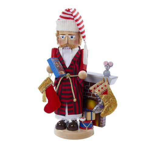 This German-made nutcracker celebrates the beloved Christmas poem by Clement Moore. According to German folklore, nutcrackers represented power and strength and