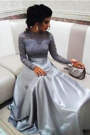 Modest Silver Lace Evening Dresses With Long Sleeves Vintage High Neck Prom Dress Elegant Floor Length A Lin With Images Prom Dresses Long With Sleeves High Neck Prom Dress