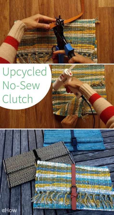 Upcycled no-sew clutch from a placemat and belt - Upcycled Crafts Diy Clutch, Diy Purse, Clutch Bag, Fabric Crafts, Sewing Crafts, Sewing Projects, Sewing Hacks, Cardboard Crafts, Sewing Tips