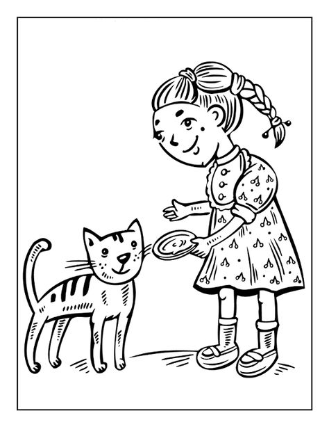 Little Girl Feeding Cat Coloring Page Kids Coloring Page Girl