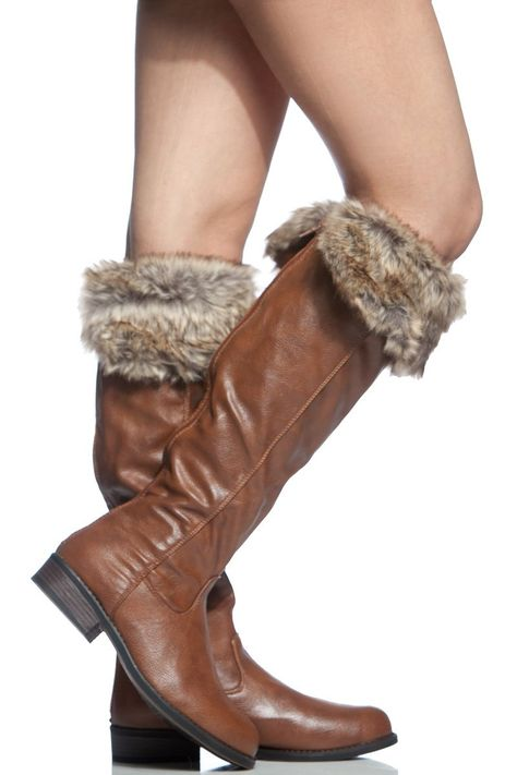 46925938dd0 Chestnut Faux Leather Faux Fur Contrast Knee High Boots   Cicihot Boots  Catalog women s winter boots