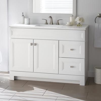 Sedgewood 48 1 2 In W Bath Vanity In White With Solid Surface Technology Vanity Top In Arc In 2020 Home Depot Bathroom Vanity Home Depot Bathroom Bathroom Vanity Tops
