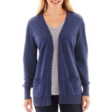 Liz Claiborne Long-Sleeve Boyfriend Cardigan Sweater found at ...