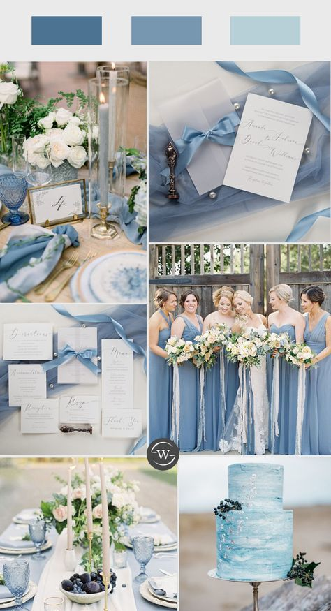 elegant caligraphy wedding invitations with vellum paper pocket and french blue silk ribbon A flowing calligraphy font makes a dramatic statement on this elegant wedding invitations.