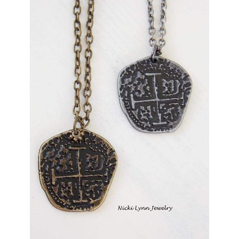"""Some days you just need to be a pirate. This replica is the perfect accessory to help you get your treasure on.  Replica pirate coin Measures 16"""" with a 2"""" extender Choose... #clearance:y #jewelry #mens #necklace #nin:t3 #nin:y #rustic"""
