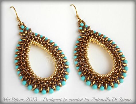 DIY Beading pattern Cleopatra earrings / PDF tutorial von MeiBijoux