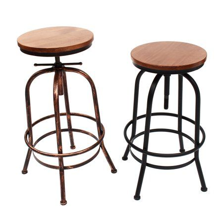 Vintage Urban Bar Stool Industrial Retro Adjustable Height Chair Wood Metal Pub Chair For Kitchens Restauran Pub Chairs Black Dining Room Chairs Small Armchair