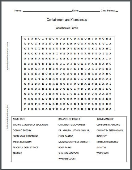 Containment and Consensus Word Search Puzzle - Free to print