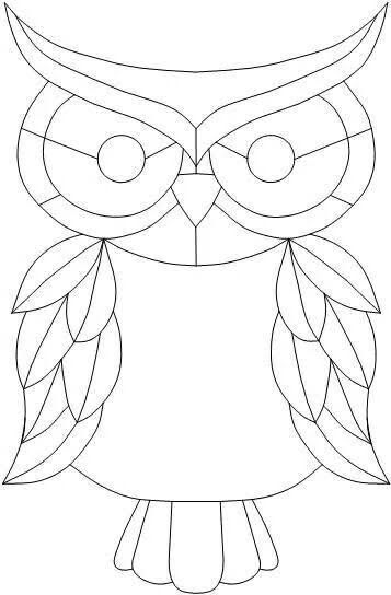 Owl Coloring Page Mosaic Patterns Stained Glass Birds Mosaic Art