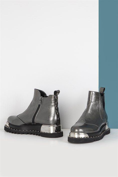 Mache Platin Deri Bayan Bot Ilvi Bayan Bot Deri Ilvi Mache Platin Leather Boots Women Boots Womens Boots