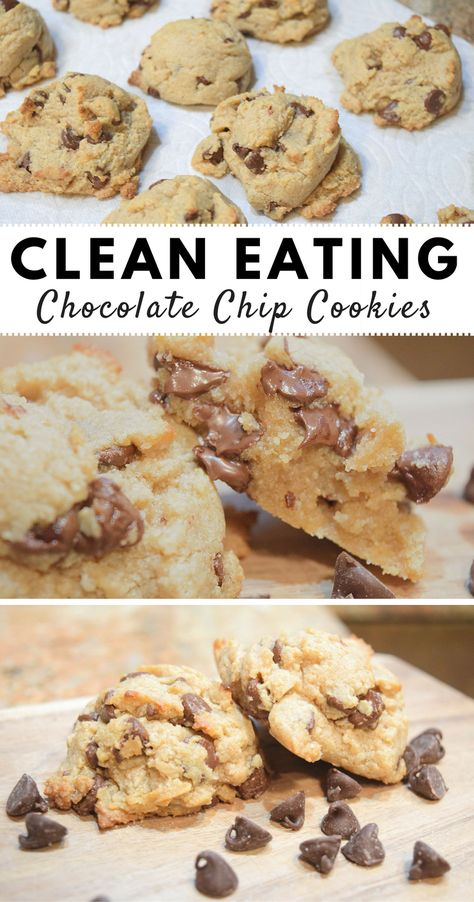 Clean Eating Chocolate Chip Cookies - Clean Eating Chocolate Chip Cookies - Clean Eating Chocolate Chip Cookies- clean cookies, real ingredients, and they taste amazing!<br> No processed sugar Healthy Cookie Recipes, Healthy Cookies, Healthy Sweets, Healthy Baking, Gourmet Recipes, Low Calorie Cookies, Protein Cookies, Vegetarian Recipes, Healthy Cookie Dough