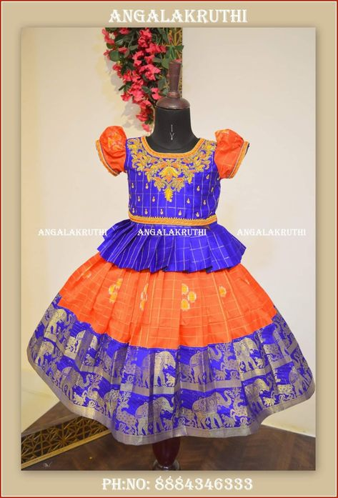 31ee578fb8cfab Kids ikkat silk pavada for kids by Angalakruthi boutique in Bangalore  Ikkatsilk lehenga designs by Angalakruthi