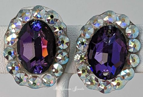 Created with oval shaped Crystallized™Swarovski Elements Heliotrope crystals These earrings are 1 long and ¾ inches wide clip designs.