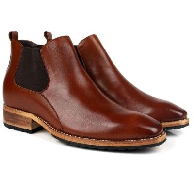 Elevator chelsea boot men brown height
