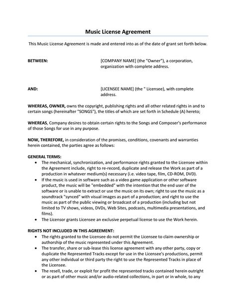 Music License Agreement Sample - general partnership agreements