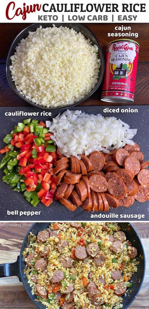Easy Cauliflower Rice Recipe -- Looking for easy, healthy keto dinner recipes? This Simple One Pan Cajun Cauliflower Rice is my favorite low carb and paleo friendly meal! And it's dairy free! This yummy keto main dish recipe is so quick and easy to make with just a handful of budget friendly ingredients. Ketogenic, low carb, paleo, atkins approved and whole30 dinner idea. #keto #lowcarb #paleo #instrupix