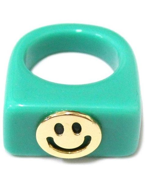 Happy Face Ring - Teal