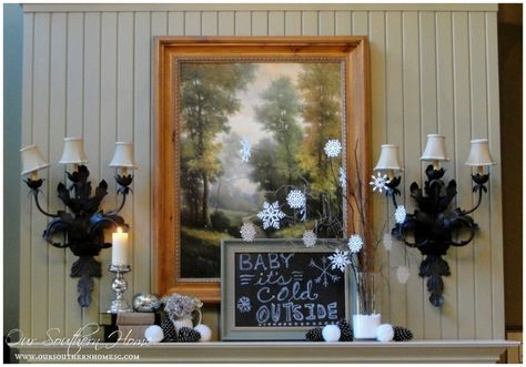 Our Southern Home | Creating A Cozy Winter Mantel | http://www.oursouthernhomesc.com