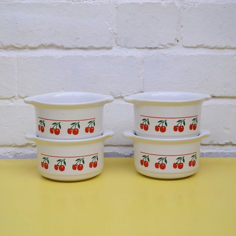 Vintage Cherry Pattern Cerole Dishes Set Of 4 Kilncraft Ceramic Mini Dish Oven Safe Ramekins 80 S By