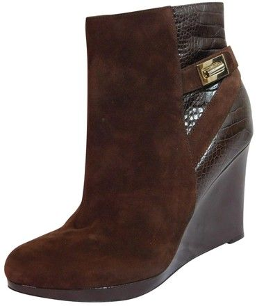 a6b37df67195 Cole Haan Brown New Martina Suede Wedge Ankle Boots Booties Size US 10.5  Regular (M