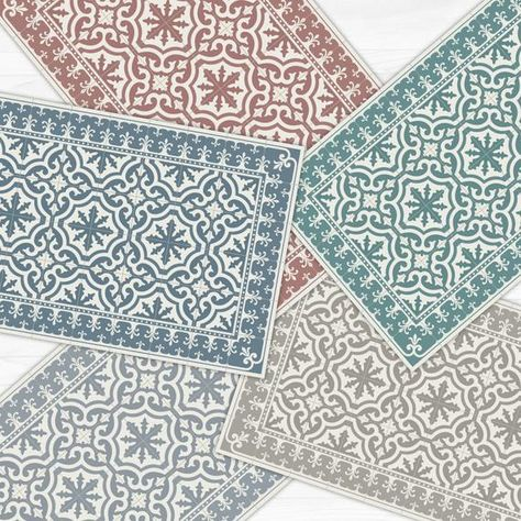 Fall Sale   20% when buying for $220 or more.  10% when buying 2 items.  15% when buying 3 items. Choose your vinyl floor mat out of six colors, and add a touch of style to your home. This classic tile design, is printed to order on our top quality and highly durable vinyl