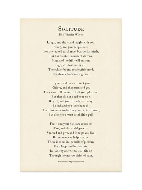 Solitude poem wall art print, Laugh and the world laughs with you... Poetry by Ella Wheeler Wilcox