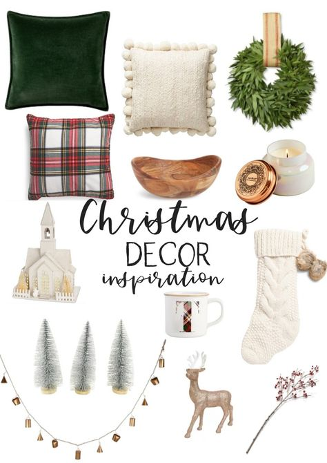 A collection of Christmas Decor for 2018 holiday decorating! I'm loving the hunter green pillows the Christmas plaid decor the chunky knit pillows & stockings flocked Christmas trees Pottery Barn decor accents and fresh wreaths! Flocked Christmas Trees, Plaid Christmas, Green Christmas, Christmas Home, Christmas Decorations, Holiday Decorating, Christmas Items, Christmas Presents, Christmas Wreaths