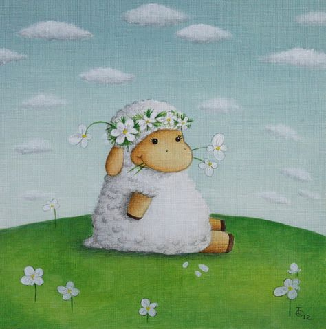 Art for Nursery Little Sheep print from an original acrylic illustration