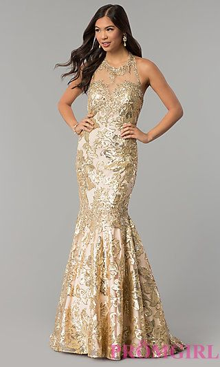 6e4f9894c17 Sequin Open-Back Dave and Johnny Prom Dress