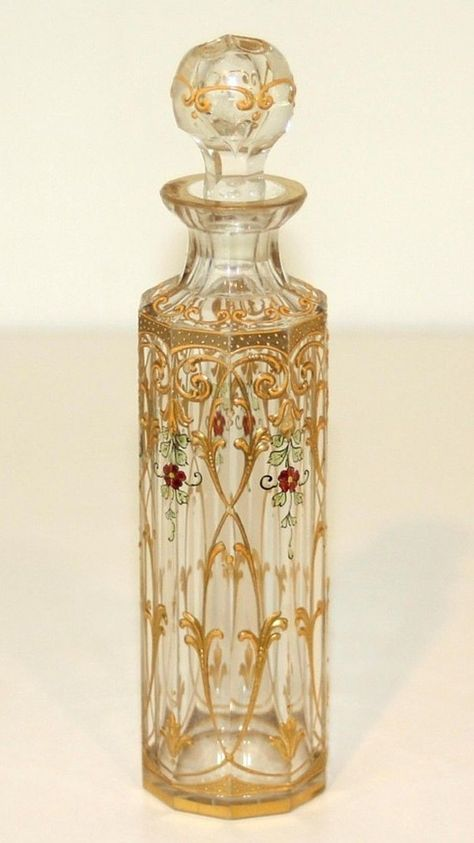 How gorgeous is this perfume bottle? French Clear Baccarat Glass Perfume Bottle with colored enamel, - 1920