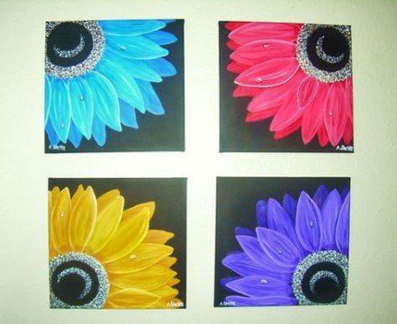 48 Ideas Flowers Painting Etsy Flower Canvas Art
