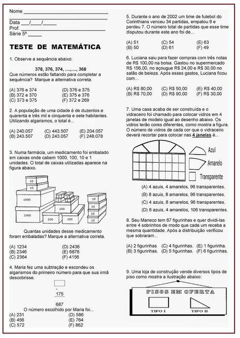 Atividade Avaliativa De Matematica Sala De Aula Profª Reri