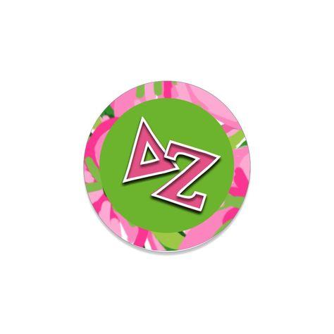 """Delta Zeta Button . Greek Letters . Green . 2.25"""""""